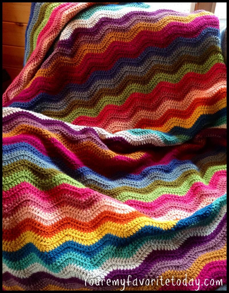 Colorful crochet ripple blanket