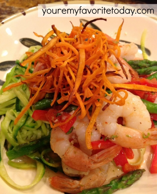 Sauteed shrimp, veggies, zoodles, and yam straws